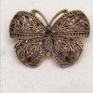 💜Butterfly Pin with Faux Amethyst